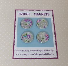 FRIDGE MAGNETS ( set of 4 )  . Silver, lilac mix . Yuzen . Japanese design . £5.00 Neodymium Magnets, Screen Printing, 3d Printing, Japanese Design, Dollar Stores, Teacher Gifts, House Warming, Lilac, Unique Gifts