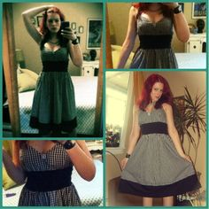 "Craft, Thrift, or Die: More of What I did on my Summer Vacation: Two Dress ""Fixes"", gingham, retro, refashion"