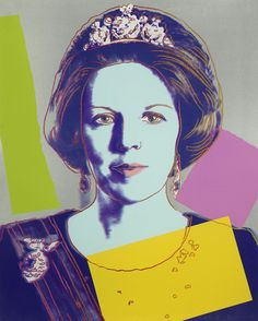 Queen Beatrix 340 by Andy Warhol. Warhol deliberately and light-heartedly included the Queen of the Netherlands in his vast pop pantheon alongside the artists, stars, transvestites and socialites who fill his pictures, aligning her with the broad sweep of popular culture which he had made his own realm.