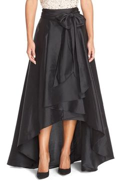 Shop Adrianna Papell High Low Ball Skirt-black from stores. Taffeta high low hem ball skirt with separate sash that ties into a bow in front, invisible back zipper and fully lined. Hi Low Skirts, Plus Size Skirts, Cute Skirts, Plus Size Outfits, Long Skirts, Women's Skirts, Curvy Fashion, Plus Size Fashion, Women's Fashion