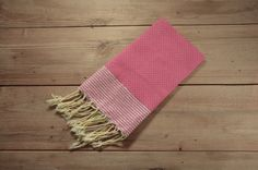 Honeycomb Hand Towel in Hot Pink with Metallic by FineFoutas
