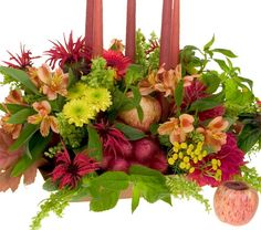 Autumn Flowers along with fruits of the season.  Create fabulous arrangements with this easy to follow ho-to arrange flowers DVD.