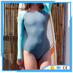 2017 women solid color sexy long sleeves swimwear outdoor sport surfing suit