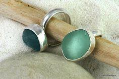 Sea glass rings. Pretty!