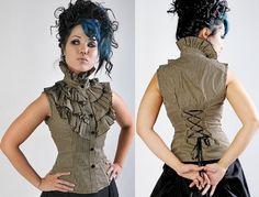 Tan Stripe Victorian Sleeveless Blouse