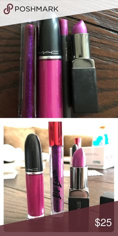 The Purples Lip Kit Smashbox Be Legendary Lipstick in Tabloid, MAC RetroMatte lipstick in Tailored To Tease, Covergirl liplava in colorlicious, MAC Pro long wear lip pencil in FASHION BOOST *all products are swatched once* every photo on this account belongs to me so please do not reuse for your advertisement needs MAC Cosmetics Makeup Lipstick