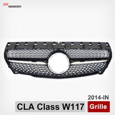 W117 ABS Diamond Radiator Front Grille Grill for 2014+ Mercedes CLA200 CLA180 CLA260 Silvery Gloss Black