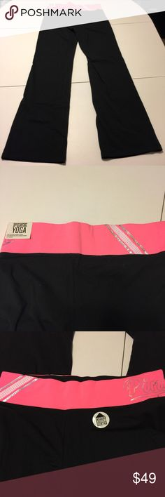 PINK Victoria's Secret Bling Yoga Pants VS PINK black yoga pants with pink waistband. Iridescent rhinestone stripes, and the word Pink in iridescent print on the waistband. Bootcut leg. (252) PINK Victoria's Secret Pants Boot Cut & Flare