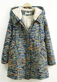 Navy Blue Striped Print Pockets Hooded Padded Coat