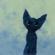 Zwart katje / Black kitten - 29 x 29 cm - acrylverf op papier / acrylic on paper - 2013 - verkocht / sold