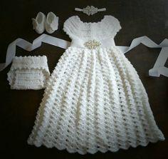 Crochet Baptism Christening Gown Flower Girl Dress Baby Costume Handmade Photo Prop Blessing