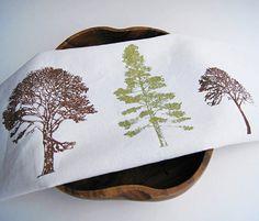 Linge organique coton torchon / main forêt par dagmarsdesigns