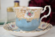 Royal Albert Teacup and Saucer In Powder Blue by TheTeacupAttic