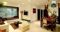 As a neutral, beige is a calming colour. It carries some of the same pureness, s. - Home Makers Interior Designers & Decorators Pvt.Ltd - Living Room Indian Homes, Apartment Interior, House Interior Decor, Interior Design, Apartment Decor, Home, Flat Interior Design, Interior Design Images, Home Decor
