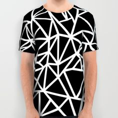 Abstract Outline Thick White on Black All Over Print Shirt
