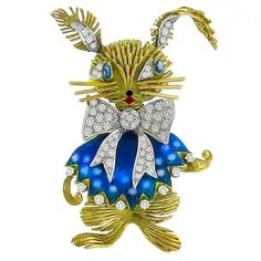 1950s Enamel Diamond Gold Hare Pin Brooch | From a unique collection of vintage brooches at https://www.1stdibs.com/jewelry/brooches/brooches/