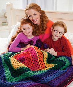 Bright Squares Art Throw Crochet Pattern