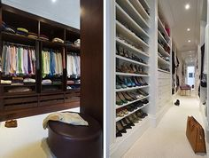 Walk-in closet divided into his and hers corridors.
