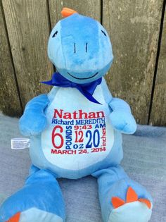 Dinosaur Personalized Baby Gift New Baby by WorldClassEmbroidery Birth Announcement Baby Boy