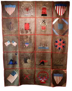 A twin to the Brick Store Museum's quilt made by the Portland Ladies Soldiers Society, this one in Mystic Seaport Museum.