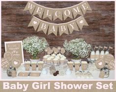 Rustic baby shower decorations Girl baby by MagicPartyDesigns