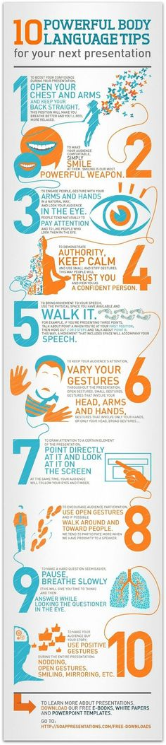 10 Powerful body language tips for your next presentation (infographic) - help students develop good communication skills in any content area. Professional Development, Self Development, Langage Non Verbal, Public Speaking Tips, Business Intelligence, Communication Skills, Marketing, Life Skills, Stress Management
