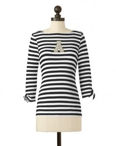 The Appalachian State University Striped Boat Neck Top in Black