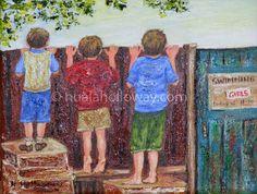 """Buachaillí Diabhalta"" (Mischievous Boys) by Nuala Holloway - Oil on Board #IrishArt #IrishArtist #OilonBoard #Boys"