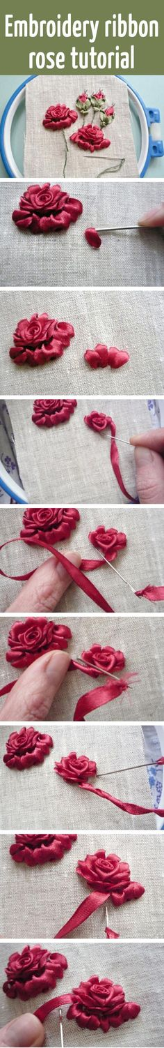 Embroidery ribbon rose tutorial More:You can find Ribbon rose and more on our website.Embroidery ribbon rose tutorial More: Ribbon Embroidery Tutorial, Rose Embroidery, Silk Ribbon Embroidery, Embroidery Patterns, Embroidery Supplies, Embroidery Stitches, Embroidery Books, Embroidery Jewelry, Rose Patterns
