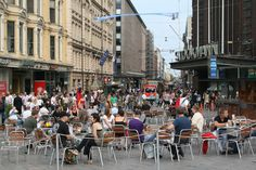 Aleksanterinkatu is the central east-west street in Helsinki, beginning near the Presidential Palace and continuing for a quarter mile to Mannerheimintie, the city's longest street.