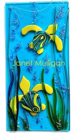 JANET MULLIGAN Fused Glass Two Yellow-Aqua Seaturtles - FREE SHIP!