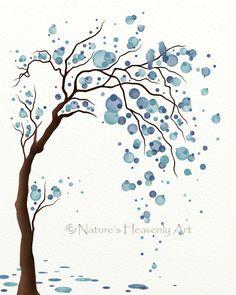 Blue Decor Watercolor Tree Art Print Poster, Abstract Tree Wall Art, Love Birds, Circles Modern Wall Decor 8 x 10. $16.00, via Etsy.
