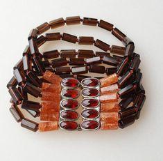 Boho glass bead bracelet brown orange red multi-strand cuff #Unsigned