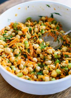 My favorite chickpea salad recipe, made with grated carrots, chopped celery, fresh dill, and lots of chickpeas. Easy to make and packs well for lunch!