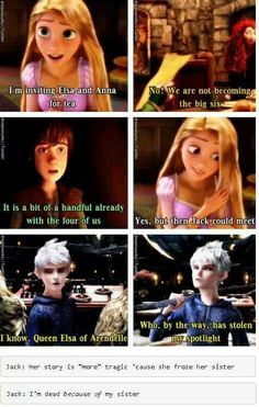 She doesn't have to steal his spotlight, they can just work together and be friends. I don't think either story is more tragic, but I do find it highly annoying when people say that Frozen doesn't go with the big four. I like the big six better.