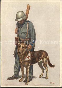 11614241 Hunde Soldat Kuenstlerkarte Rotes Kreuz Tiere