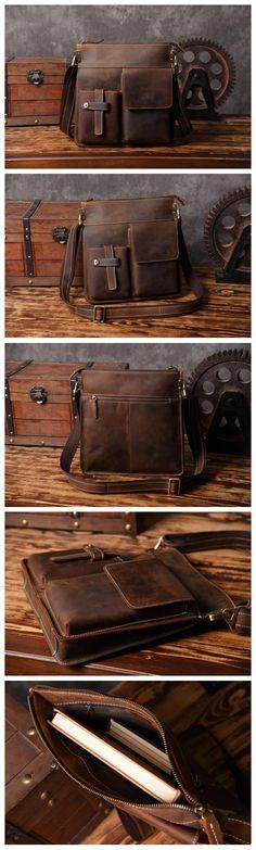 Vintage Handmade Leather Messenger Bag Crossbody Bag Shoulder Bag MT22