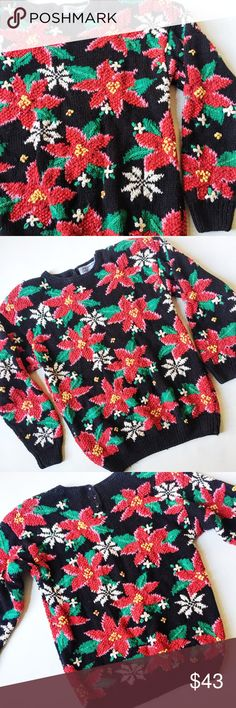 """Vintage """"Ugly Christmas Sweater"""" Vintage """"Ugly Christmas Sweater"""" in black and red featuring intricate hand-knit poinsettia floral print.  Nothing ugly about this beautiful vintage piece!  True vintage style with shoulder pads and button  closure at neckline in back.  Heavy, cozy sweater.  Excellent vintage condition, a few threads have come loose but no holes or stains.  Size M, runs big.  Measurements laying flat: Armpit to armpit: 19"""" Waist (across): 18"""" Total length: 25"""" (approx.) Sleeve…"""