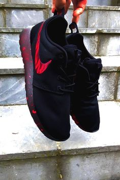 """airville: """"BlackOut Foudeuse Roshe Runs Customs by TrybuCustom Check out more of TryBu's custom sneaker work on IG and make s. 2016 How To Style Sneakers This winter and Summer – Casual Outfit by Stylishly Me. Nike Shoes Cheap, Nike Free Shoes, Nike Shoes Outlet, Running Shoes Nike, Cheap Nike, Cute Shoes, Me Too Shoes, Reebok, Store Nike"""