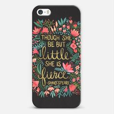 Charcoal Little and Fierce iPhone Case by Cat Coquillette