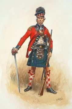 British;  84th Regiment of Foot, 2nd Battalion, Royal Highland Emigrants, Officer, 1780 by Don Troiani. Raised from Loyalists they served in Canada , along the Northern frontier and in the South. Note the regional touch of a Racoon skin sporran.