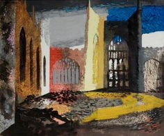 """""""Interior of Coventry Cathedral, 15 November 1940 by John Piper 1940 ( The day after the Coventry Blitz. Klimt, John Piper Artist, Coventry Cathedral, Building Art, A Level Art, Art Uk, Urban Landscape, Urban Art, Landscape Paintings"""