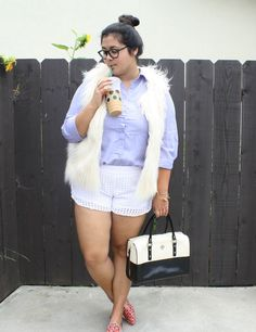 Plus size outfit size 16 Lilly shorts and Starbucks.