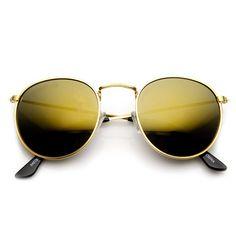 1418b4dcf61 Retro Fashion Metal Frame Flash Mirror Lens Round Sunglasses