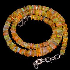 "94CRTS 4.5to7.5MM 18"" ETHIOPIAN OPAL SQUARE  BEAUTIFUL BEADS NECKLACE OBI2553 #OPALBEADSINDIA"