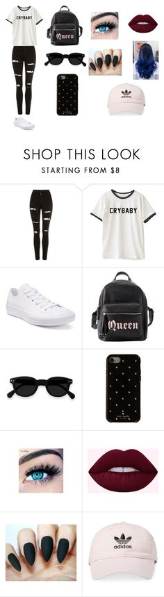 """""""Sin título #279"""" by karenrodriguez-iv on Polyvore featuring moda, Topshop, Converse, Charlotte Russe, Kate Spade, MINX y adidas"""