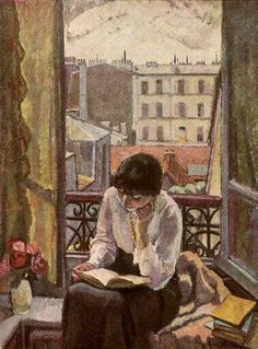 This is how I looked while living in Paris, reading by my open window, deliriously happy to have so much time to read.