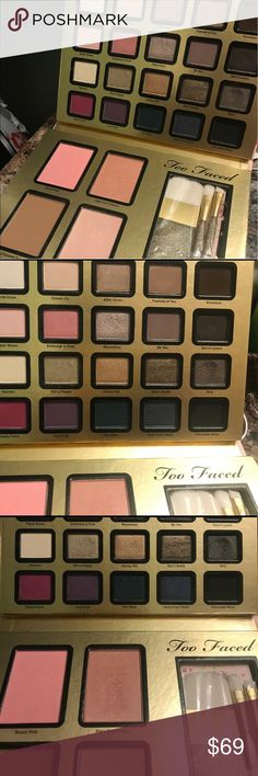 "TOO FACED ••LIMITED EDITION•""EVERYTHING NICE"" SET Have swatched a few colors. Used a few colors. Brushes new never used as well as so many shadows. Tucked it away in my collection but feel it could be someone's perfect daily use palette. Limited edition. Has been sanitized. No box. Always authentic. Too Faced Makeup Eyeshadow"