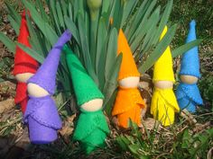 Rainbow Waldorf Gnomes 4, via Flickr. for your pretty outdoor plants!