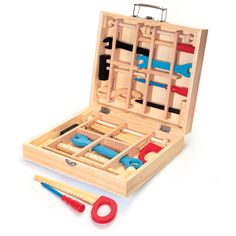 Child Kids Pretend Role Play Wooden Tool Box Toolbox Carpentry Carpenter 19068